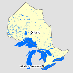 Map of Ontario with Windsor Downtown