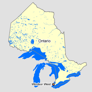 Map of Ontario with Windsor West