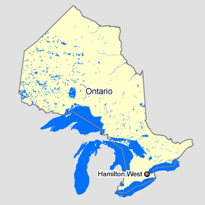 Map of Ontario with Hamilton West
