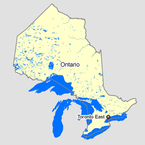 Map of Ontario with Toronto East