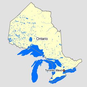 Map of Ontario with Toronto West