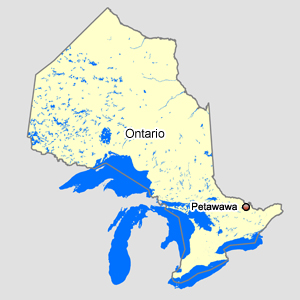 Map of Ontario with Petawawa