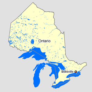 Map of Ontario with Belleville
