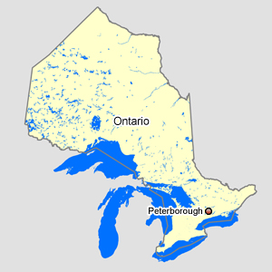 Map of Ontario with Peterborough